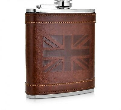 Vintage Hip Flask Leather Cover 7-9 oz Stainless Steel Body Portable Bottle Gift