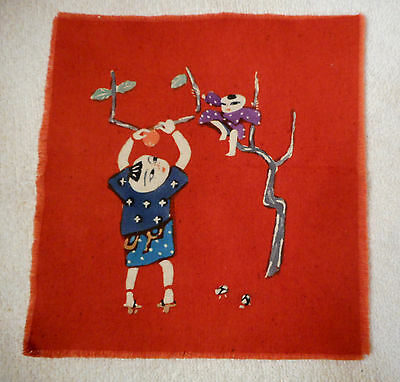 Japanese Painted Red Fabric Artwork Hand done Print Unframed Unused 7 1/2 x 8