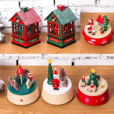 Home Christmas Decor Ornament Classic Clockwork Music Box Wind Up Toy Xmas Gifts