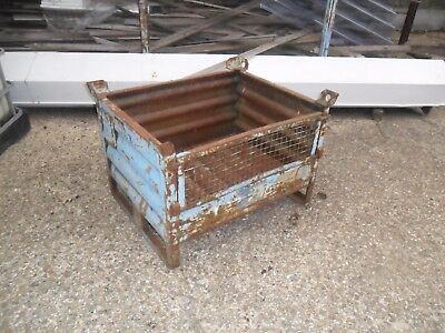 "Small Vintage Industrial Metal Fold Down Front Stillage 30"" X 24"" X 201/2"" High"