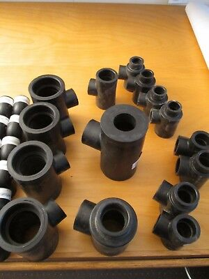 Lot of (15)  Assorted SF Tees,  HDPE, for fusing HDPE geothermal piping
