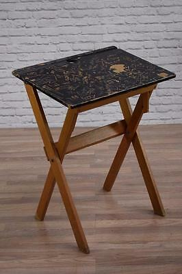 Vintage Mid Century Black Painted Foldable School Desk (30 Available)