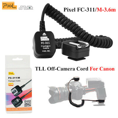 Pixel Flash FC-311/M-3.6m TLL Off-Camera Cord Speedlite Hot Shoe For Canon