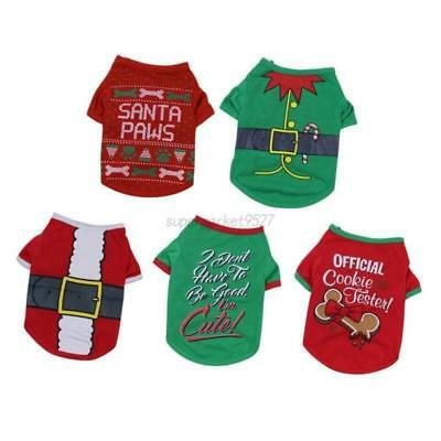 Dog Cat puppy SMALL Pet Christmas Jumper Santa Elf Clothes SEE SIZE CHART S/M/L