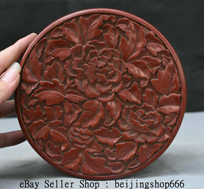 "7"" Marked Old China Red Lacquerware Dynasty Flower Round Jewelry box jewel case"