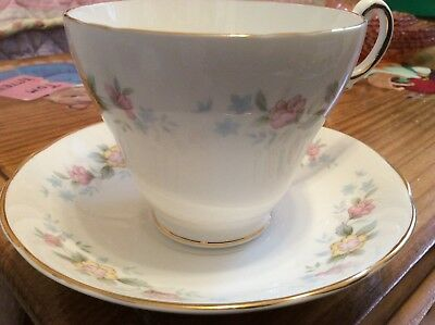 Regency Bone China England Delicate Pink & Yellow Floral Pattern, Cup and Saucer