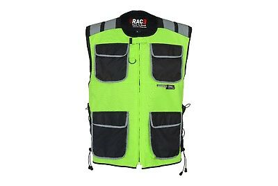 Safety Vest Jacket Zip Security High Visibility Night Reflective Rac3