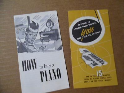 1956 Conn Minuet Spinet Organ Brochure + How To Buy A Piano Pamphlet Vintage