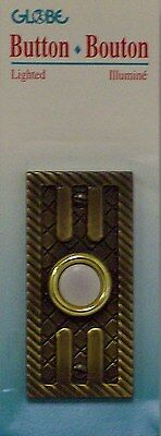 Globe Lighted Door Bell Wired Push Button Solid Antique Brass Finish