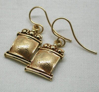 Lovely Vintage Pair Unusual Style Heavy Quality 14 Carat Gold Dropper Earrings