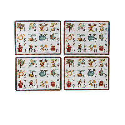 Campus Gifts Set Of 4 Rectangular 12 Days Of Christmas Placemats Tableware Mats