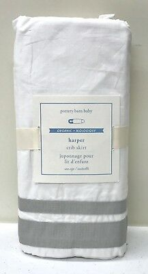 NEW Pottery Barn KIDS Harper Grosgrain Ribbon Crib Skirt Nursery Bedding, GRAY