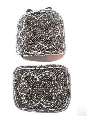 Pair Vintage Antique Victorian Cut Steel French Shoe Clips Ornate France Beaded