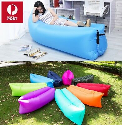 Inflatable Air Bag Sofa Travel Camping Beach Lazy Lounger Sleeping Bed Lounge AU