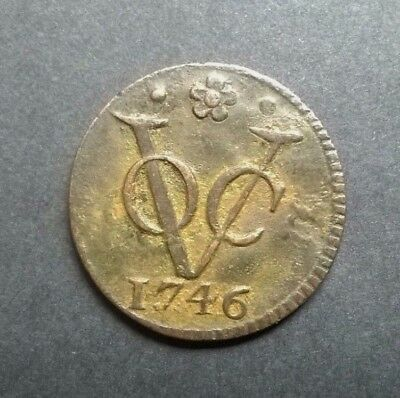 1746 Used In Ceylon VOC World Coin One Duit Copper Coin