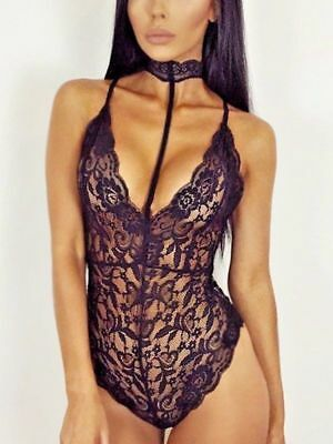 Women Sexy/Sissy Lace Nightwear Lingerie Backless Babydoll Bodysuit Teddy