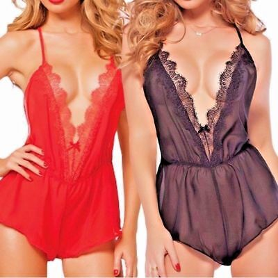 Women Sexy/Sissy Bodysuit Lace Sheer Backless Halterneck Nightwear Lingerie