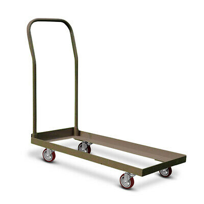 Folding Chair Cart Dolly Tan Steel Push Rolling Storage Capacity 50 Chairs