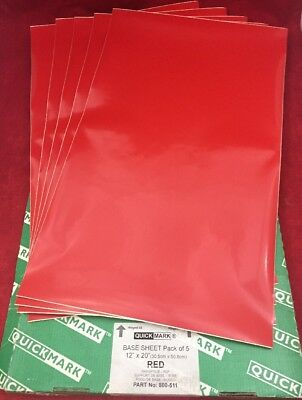 """NEW PACK OF 5 QUICK-MARK Base Sheets Red 12""""x20"""" 800-511"""