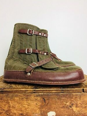 RARE Authentic Vintage WWII German Winter Snow Over Boots Marked Size 44-45