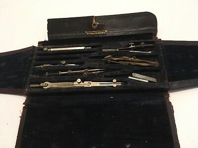 Antique Drafting Tool Set In Case  Pennsylvania State College