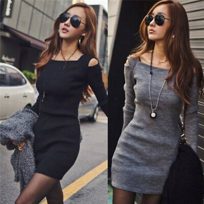 Fashion Women's Knitted Dress Long Sleeve Sweaters Dress Casual Party Mini^Dress