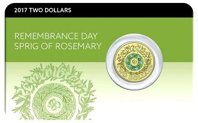2017 $2 COLOURED COIN UNC Remembrance Day on Card