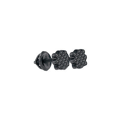 Sterling Silver Round Black Colored Diamond Cluster Stud Earrings 1/20 Ctw