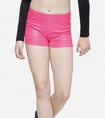 NWT JUSTICE Girls 16 Pink Shimmer Compression Shorts