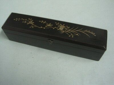 Antique CHINESE Laquered Box for fan with bird and flower Empty hand paintend