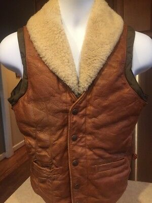 Vintage 80s Down by Schott Leather Vest Mens 34 Shearling