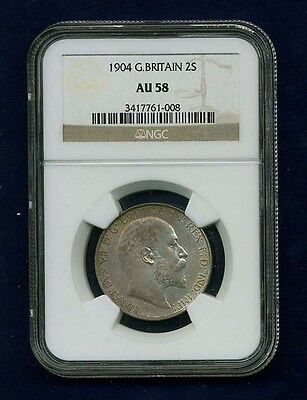 Great Britain Edward Vii 1904 Florin, Almost Uncirculated, Certified Ngc Au58