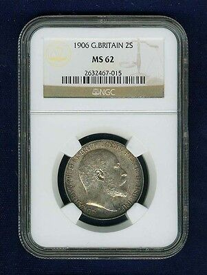 Great Britain Edward Vii  1906 Florin, Choice Uncirculated, Certified Ngc Ms62