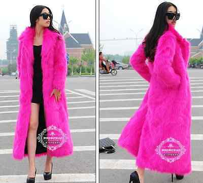 Womens Faux Fur Luxury Overcoat Parkas Warm Coats Furry Full Length 6Colors Size
