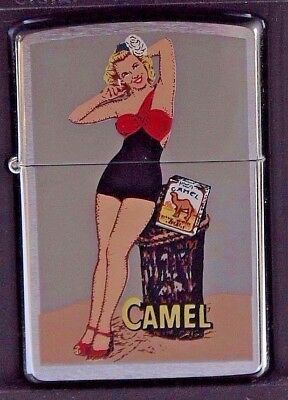 VINTAGE  ( 1990'S ) RETRO ( 1950's ) CAMEL ZIPPO PINUP GIRL PRISTINE CONDITION
