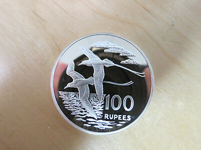 1978 Seychelles Silver Proof 100 Rupees .925 White-tailed Tropic Bird