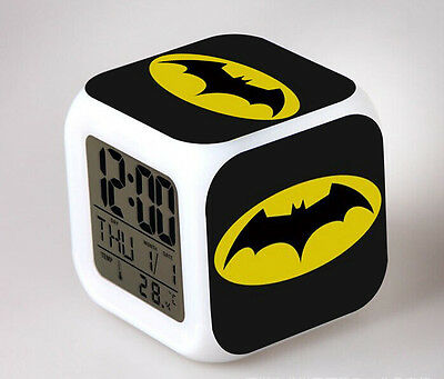 Batman Costume LED 7 Colors Change Night light Colorful kid Alarm Clock