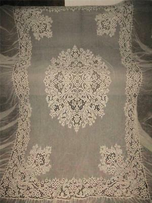 "antique LACE BEDSPREAD & PILLOW Layover Full Size top 54x86 w 18"" Flounce Ecru"