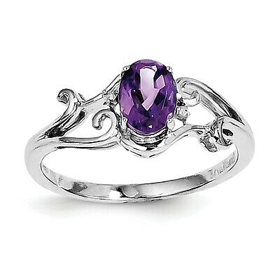 Sterling Silver Rhodium Plated Diamond & Amethyst Oval Ring QR4500AM Size 6 - 8