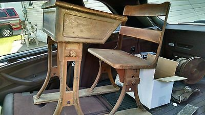 Early Antique School Desk and Chair Set Adjustable Cast Iron Wood