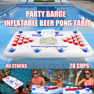 Party Barge+Inflatable Beer Pong Table Pools Rivers Lakes Cooler Floating Lounge