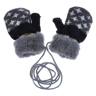 Hot ! Baby Wool Thicken Warm Full Finger Mittens Stars Soft Knitted Kids Gloves