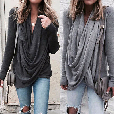 US STOCK Women's Winter Loose Long Sleeve Cotton Casual T Shirt Tunic Top Blouse
