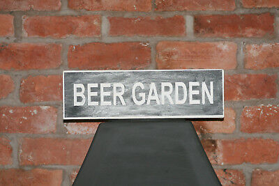 Beer GardenVintage Shabby Chic Wooden Sign Old Look Pub Restaurant Club Retro