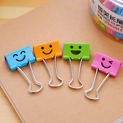 40Pcs 19MM Smile Face Purse Paper Metal-Binder Dovetail Clip School Stationery
