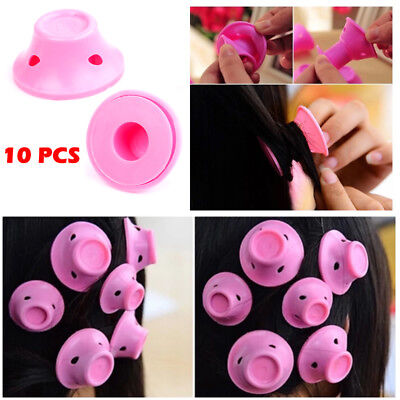 UK 10pcs Women Girl Beauty Roll Hair Maker Curlers Roller Soft Silicone Home DIY