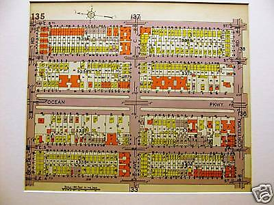 Brooklyn Map 1929 FLATBUSH BEVERLY E. 4th - 8th STREET Matted