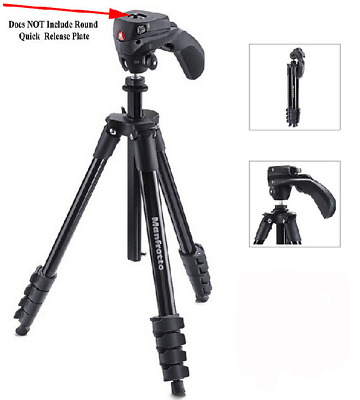 Manfrotto Compact Action Tripod - Black - MKCOMPACTACN-BK - Unit Only - UD