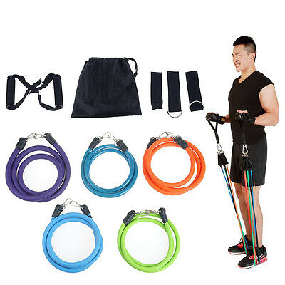 11PCS Heavy Duty RESISTANCE BAND TUBE Power Gym Exercise Yoga Training Fitness