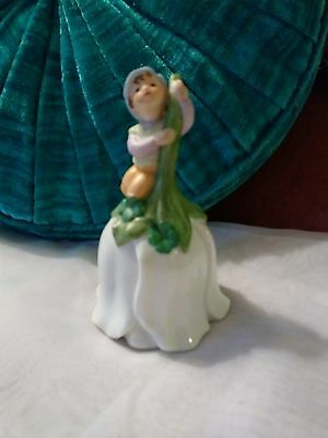 AVON 1983 Elf Bell Fairy Boy Sitting Seated on a Flower Porcelain 1980's Collect